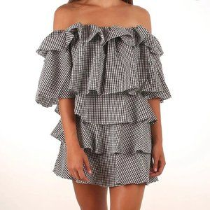 MLM Label Gingham Tiered Ruffle Off Shoulder Black and White Mini Dress